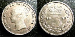World Coins - England  3 Pence 1859 EF