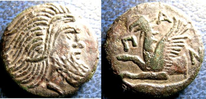 Ancient Coins - PANTIKAPAION 310-304/3 BC AE-20 PAN/PEGASUS VF+ NEAR EF