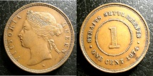 World Coins - STRAITS SETTLEMENTS 1874-H CENT KM#9 EF