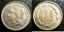 Us Coins - Three Cents Nickel  1868  AU-50