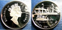 World Coins - CANADA 1991 DOLLAR KM#179 FRONTENAC PROOF, .500 SILVER, .3750 OZ. ASW