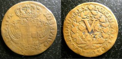 World Coins - Portugal  5 Reis 1757 Fine