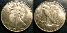 Us Coins - WALKING LIBERTY 1/2 DOLLAR 1944  AU-58