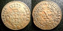 World Coins - Portugal  10 Reis 1799 VF+ clip, error