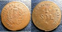 World Coins - FRENCH REVOLUTION SIEGE OF MAYENCE 1793 SOL, EF AREAS OF WEAKNESS IN STRIKING