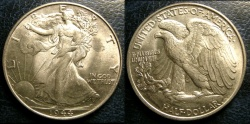 Us Coins - WALKING LIBERTY 1/2 DOLLAR 1944  AU-58