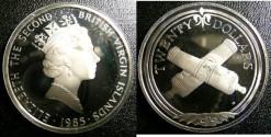 World Coins - BRITISH VIRGIN ISLANDS TWENTY DOLLARS 1985 CROSSED CANNONS PROOF,.925 SILVER