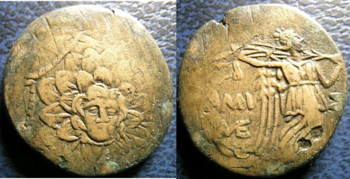 Ancient Coins - PONTOS AMISOS 85-65 BC AE21 AEGIS W/GORCONS HD, NIKE ADVANCING RT. HOLDING PALM FINE+