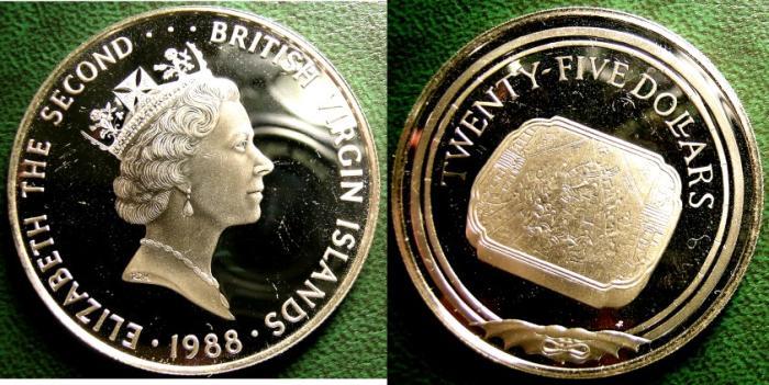 World Coins - BRITISH VIRGIN ISLANDS  25 DOLLARS 1988 ENGRAVED PRINTING BLOCK,  PROOF, .925 SILVER