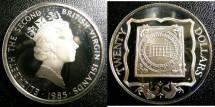 World Coins - BRITISH VIRGIN ISLANDS TWENTY DOLLARS 1985 ANCHOR  PROOF,.925 SILVER