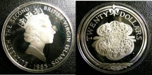 World Coins - BRITISH VIRGIN ISLANDS TWENTY DOLLARS 1985 SWORD GUILLON,  PROOF,.925 SILVER