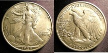 Us Coins - Walking Liberty 1/2 Dollar 1939-D  Au/Unc