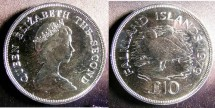 World Coins - Falkland Islands 10 Pounds 1979 Pair of Ducks,  Proof .925 Silver