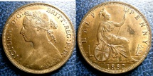 World Coins - ENGLAND 1882-H HALF PENNY S#3957 PCGS MS-63BN  UNC;