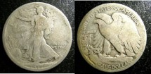 Us Coins - Walking Liberty 1/2 Dollar 1917-S  Reverse G-4,  .900 Silver