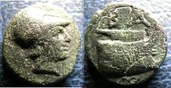 Ancient Coins - MACEDON 306-282 BC DEMETRIOUS POLIORKETES AE 13.4 X 14.6 MM, 2.9 GR VF