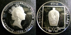 World Coins - BRITISH VIRGIN ISLANDS 1988  TWENTY FIVE DOLLAR PROOF, AMERICAN BOTTLE .925 SILVER