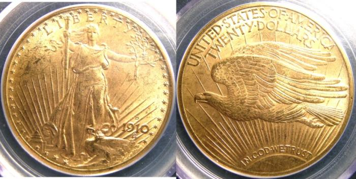 US Coins - ST. GAUDENS $20.00 GOLD 1910-D PGGS MS-63
