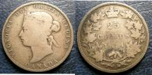 World Coins - CANADA 1874-H 25 CENTS VG