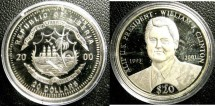 World Coins - Liberia  $20.00 Dollars 2000 William J. Clinton Proof, .999 Silver