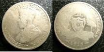 World Coins - Australia  Florin 1915-H Scarce date, /Filler, .925 Silver