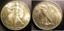 Us Coins - Walking Liberty 1/2 Dollar 1941 MS-63, TONED