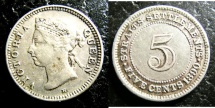 World Coins - STRAITS SETTLEMENTS 1890-H FIVE CENTS KM#10 VF
