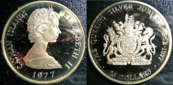 World Coins - Cayman Islands 25 Dollars 1977 Proof, .925 Silver