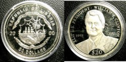 World Coins - Liberia  $20.00 Dollars 2000 William J. Clinton Proof, .999 Silver