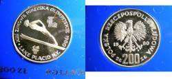 World Coins - Poland 200 Zlotych 1980 Lake Placid Olympics, W/Torch,  Proof