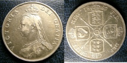 World Coins - ENGLAND 1887 JUBILEE FLORIN S#3925 VF, .925 SILVER