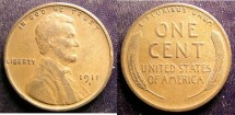 Us Coins - Lincoln Cent 1911-S VF-30  Key Date