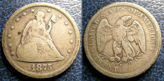 US Coins - TWENTY CENTS 1875-S VG-8