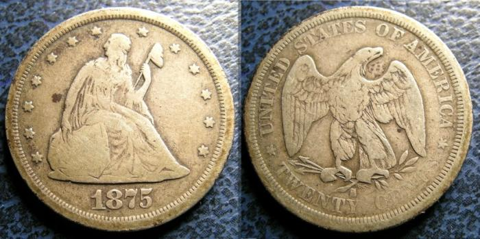 US Coins - TWENTY CENTS 1875-S VG-8