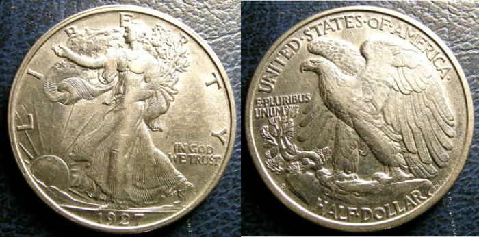 US Coins - WALKING LIBERTY 1/2 DOLLAR 1927-S AU/UNC.