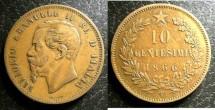 World Coins - Italy  10 Centesimi 1866-T  A.EF