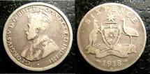 World Coins - Australia  6 Pence 1918-M  VG, Rare