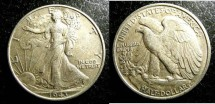 Us Coins - Walking Liberty 1/2 Dollar 1943  EF-40,  .900 Silver