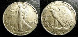 Us Coins - Walking Liberty 1/2 Dollar 1943  EF-40,  .900 Silver