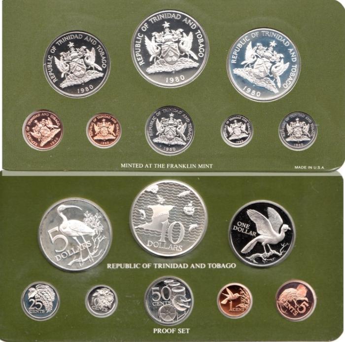 World Coins - Trinidad & Tobago 1980 (8PC) Proof Set, 5 Dollar & 10 Dollar Coins are .925 Silver, 1.924 oz. Silver
