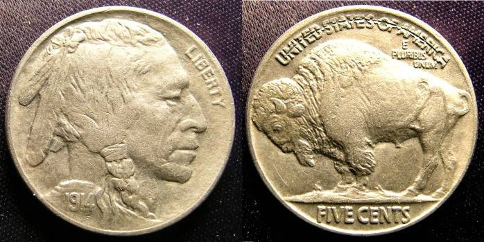US Coins - Buffalo Nickel 1914 Au/Unc; Error! Die Clash Reverse