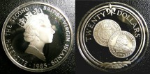 World Coins - BRITISH VIRGIN ISLANDS TWENTY DOLLARS 1985 GOLD DOUBLOON OF 1702 PROOF, .925 SILVER