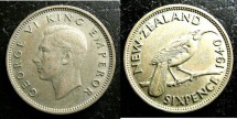 World Coins - New Zealand  6 Pence 1940 VF+