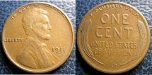 Us Coins - LINCOLN CENT 1911-S VF-20, SEMI KEY DATE