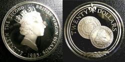 World Coins - BRITISH VIRGIN ISLANDS TWENTY DOLLARS 1985 GOLD DOUBLOON OF 1702 PROOF, .925 SILVER