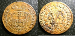 World Coins - Portugal  5 Reis 1764  VF