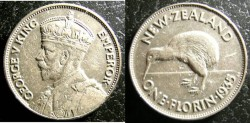 World Coins - New Zealand 1935 Florin  VF, .500 Silver