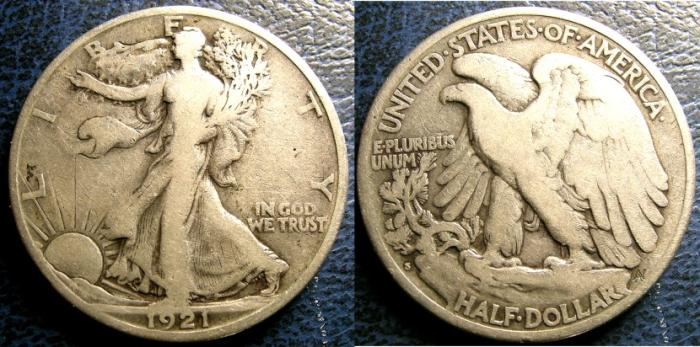US Coins - WALKING LIBERTY 1/2 DOLLAR 1921-S VG-8