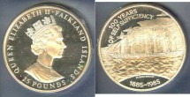 World Coins - Falkland Islands  25 Pounds Nd 1985 Proof, .925 Silver, 4.467 oz.w/box & COA