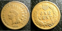 Us Coins - Indian Cent 1872  VG-8